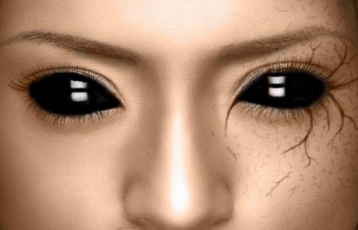 Eye free black sklera